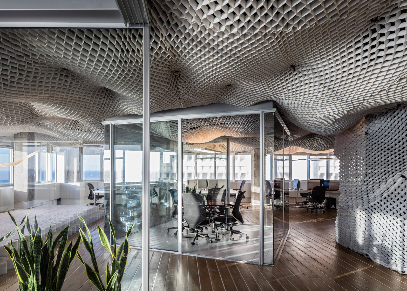 Billowing sky ceiling shows off versatile structural for Top interior architects