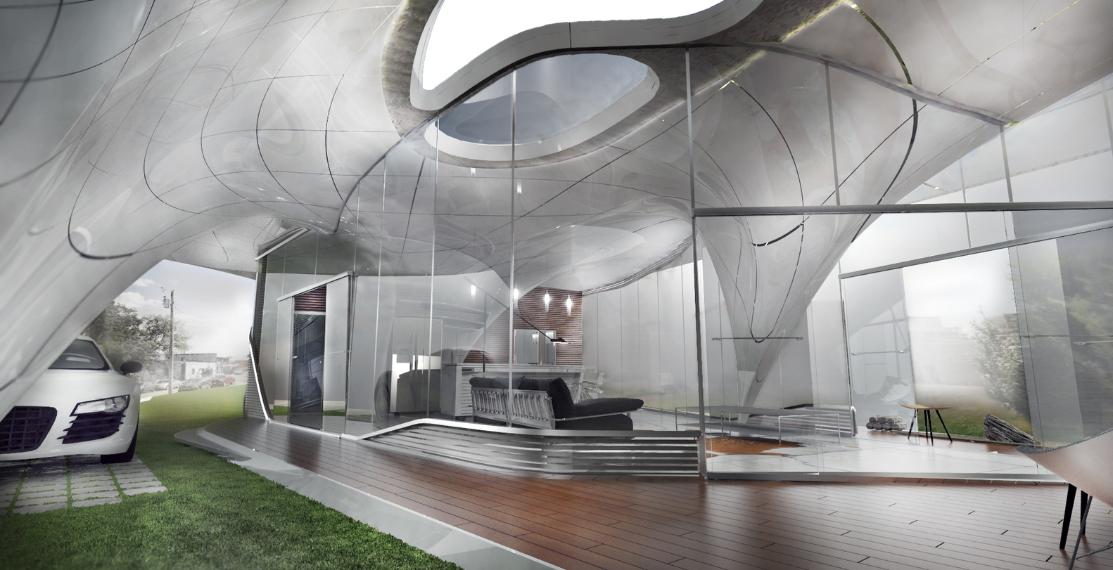 Curve appeal world s first freeform 3d printed house for Design a 3d house