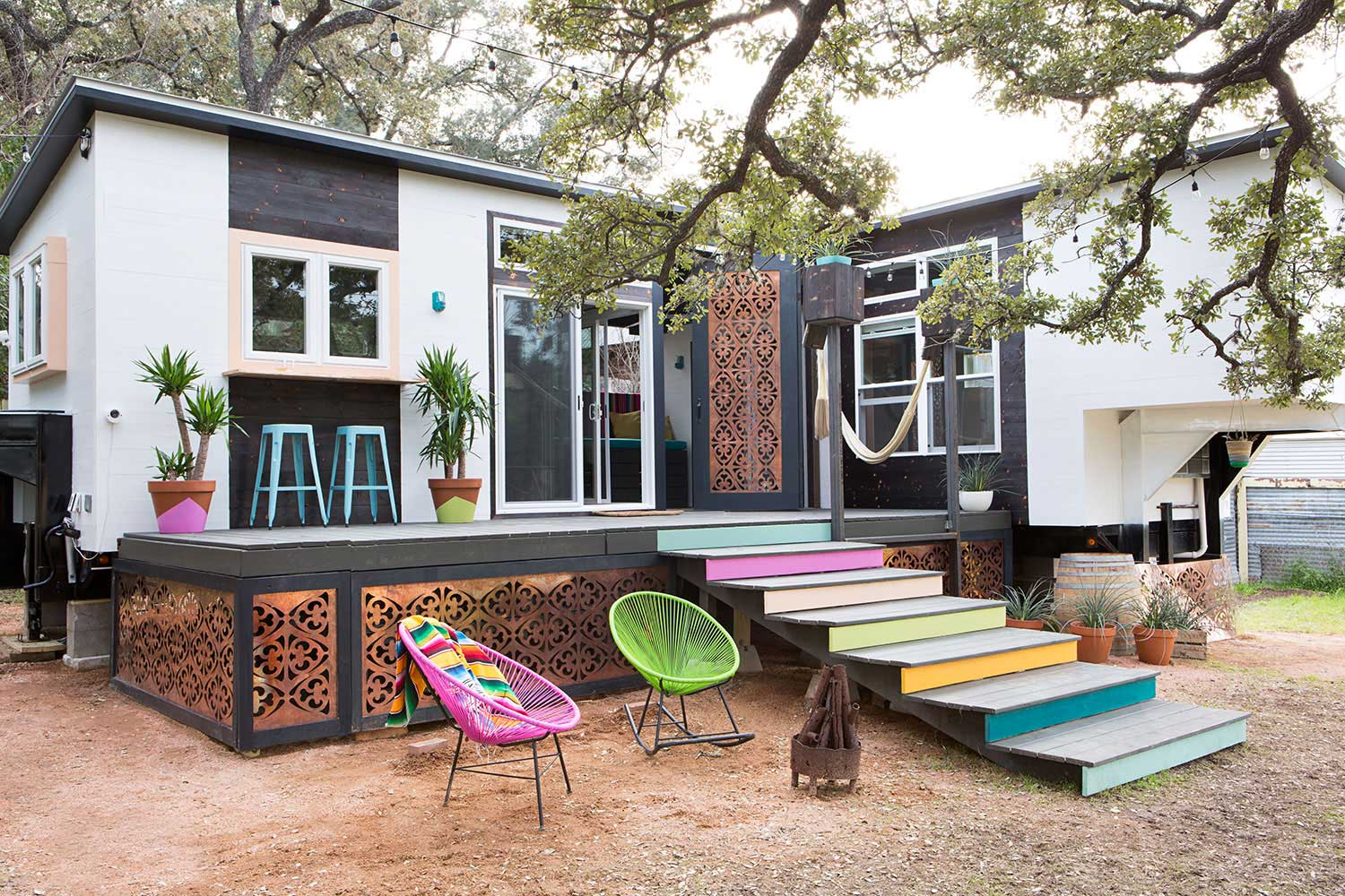Breezy boho dream tiny texas house made from two trailers for The texas house