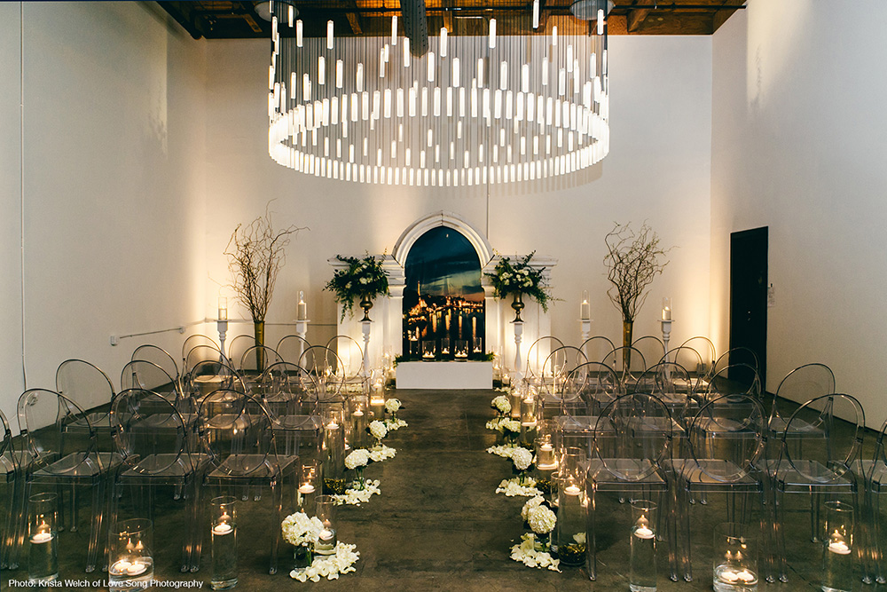 Loci chandelier in wedding venue