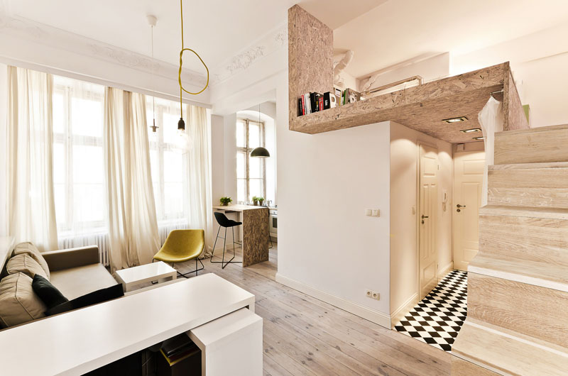 Tiny Apt Design lofty vision: clever tiny apartment design is high on style
