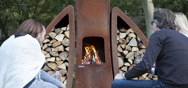 Tendu outdoor fireplace by Sebios