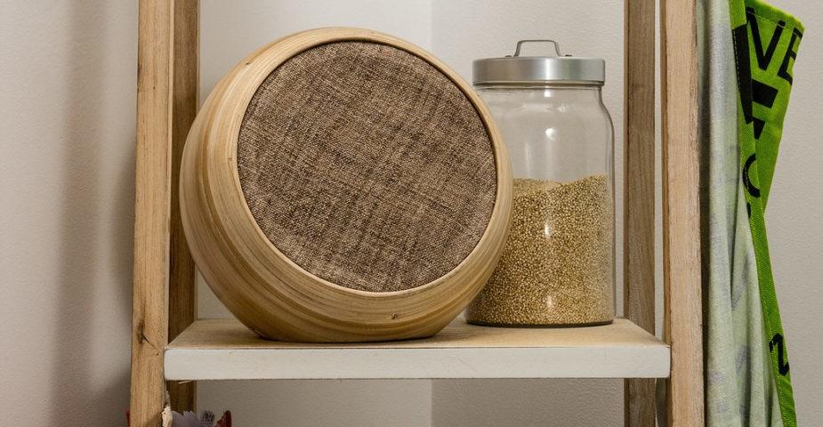 hazang bamboo speaker on shelf