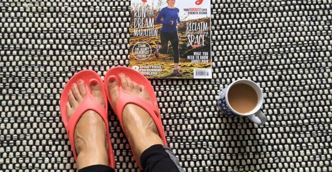 relaxing in oofos sandals