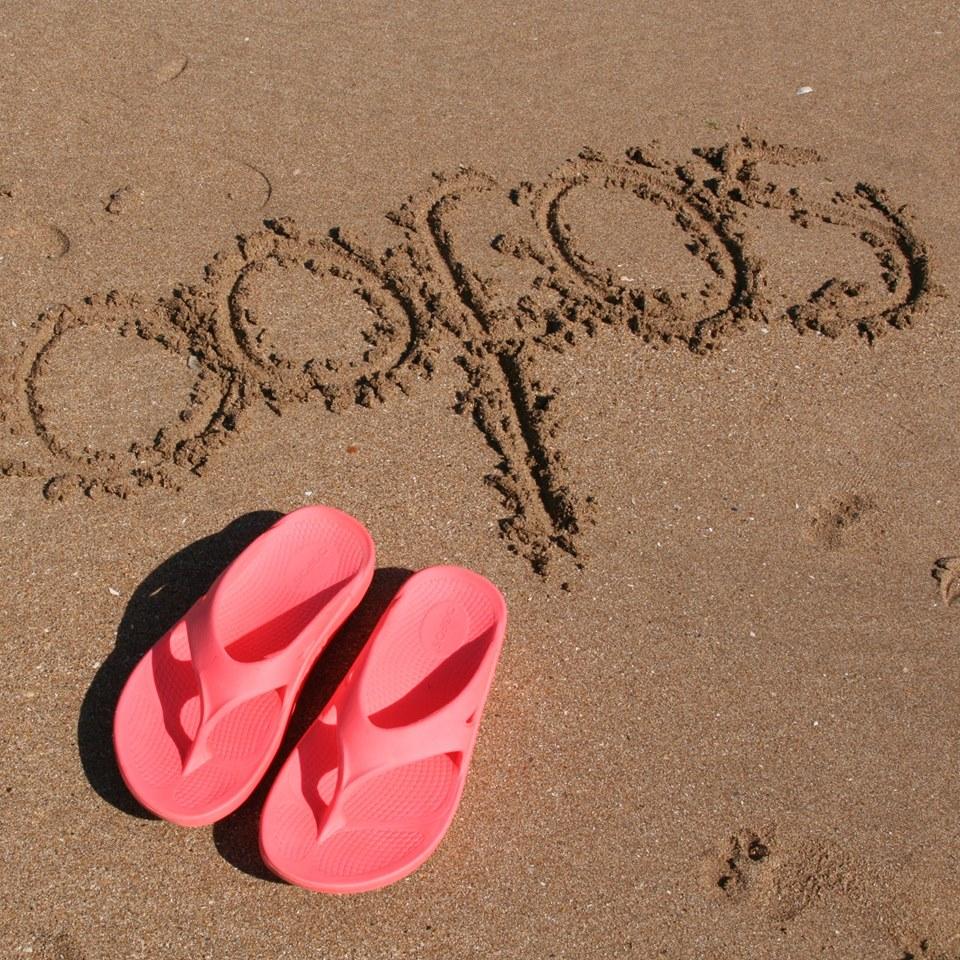 Oofos sandals beach