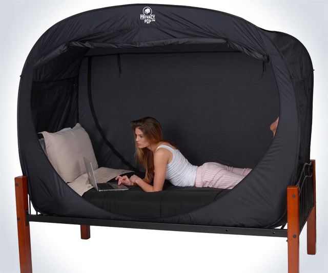 bed tent laptop