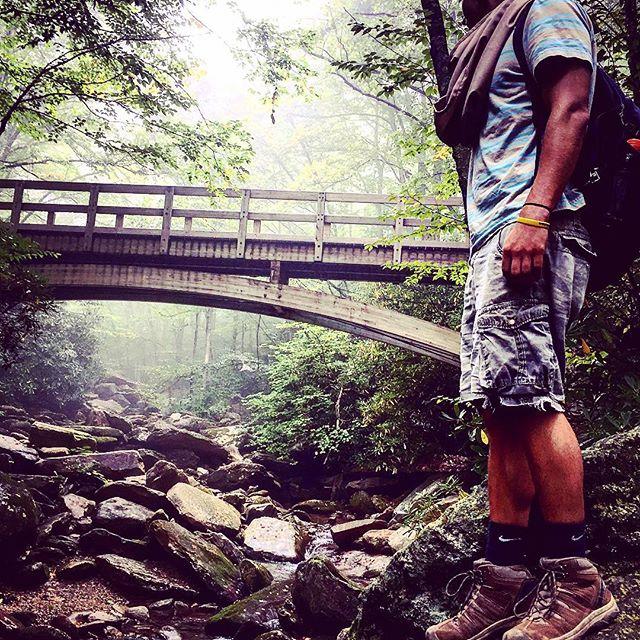 hiker wearing scarf