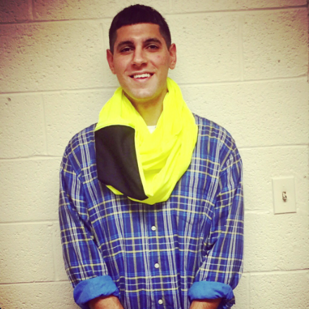 man in yellow scarf