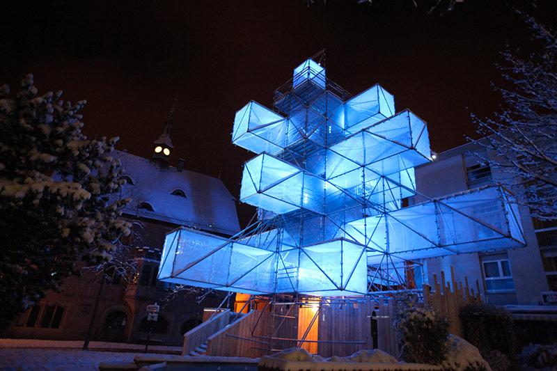 modern christmas tree blue