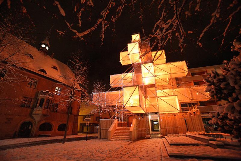 modern christmas tree sculpture orange