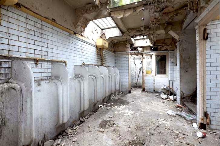 old abandoned public bathroom