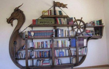 custom bookshelf viking ship fantasy