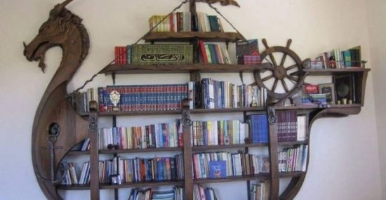 custom bookshelf viking ship fantasy