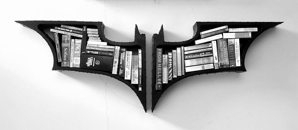 custom bookshelf batman logo