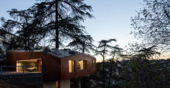 hillside home nighttime