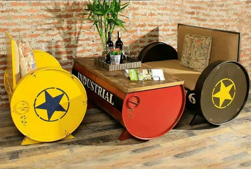 Oil Barrel Loveseats and Coffee Table - Osaka25