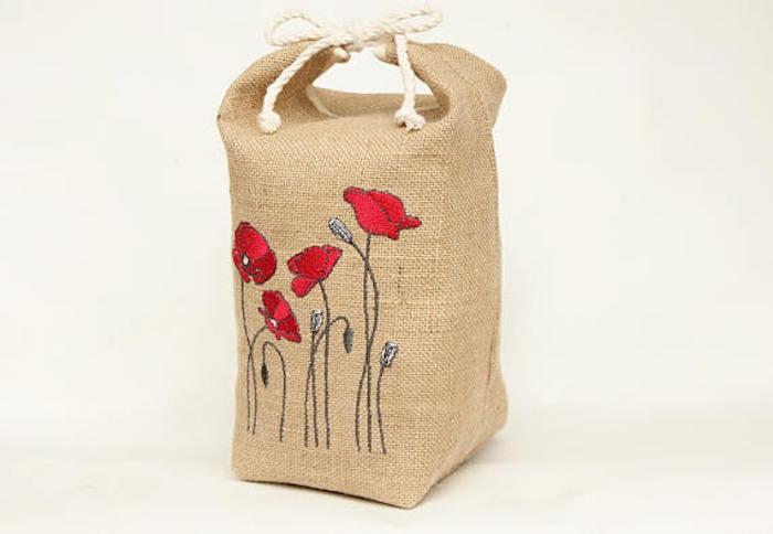 Burlap Poppies Doorstop - RaggedHome