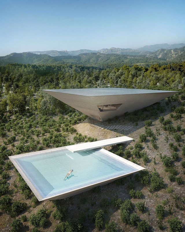 Experimental Architecture Inverted Pyramid House Set Into