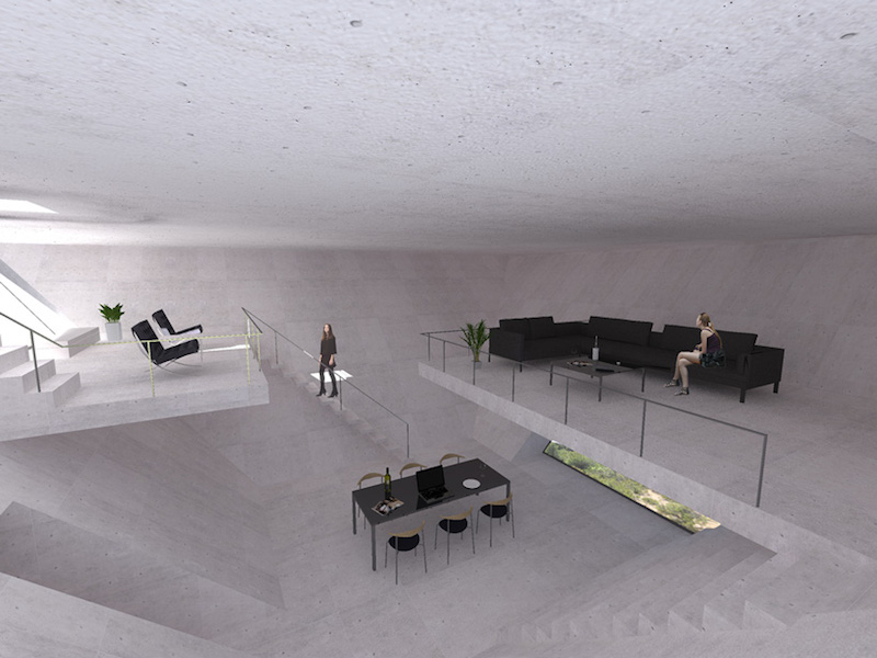 Inverted Pyramid Solo House - Interior