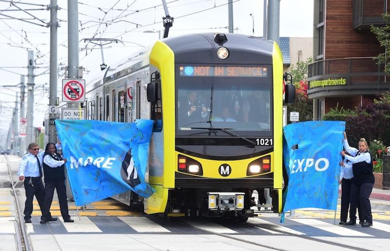 First Expo Line Train to Santa Monica