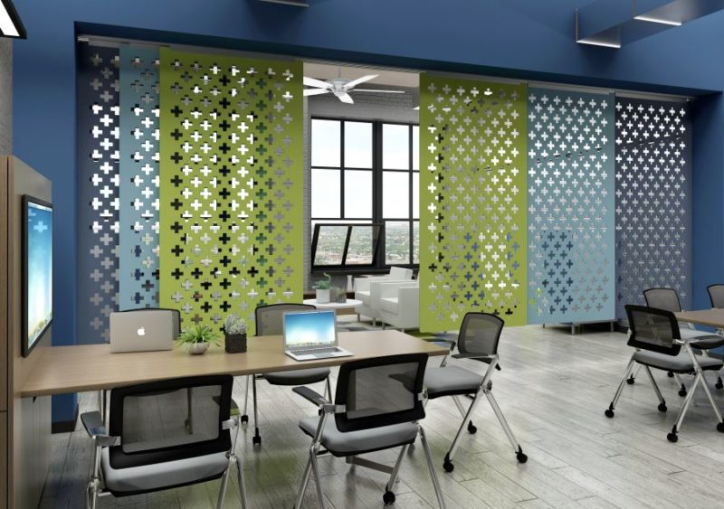 creative office environments inspiring kireis new echoscreen lets companies get creative with open floor office environments